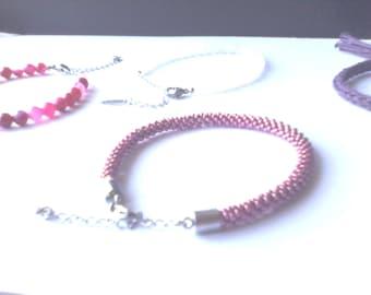 Bracelet cuff handmade peyote handmade beads miuky zigzag black and silver / stainless steel
