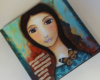 Giclee print mounted on Wood. Print on wooden block. Wooden block. Art on Wooden block. Print on Wood Block. Mixed media print. 5x5in.