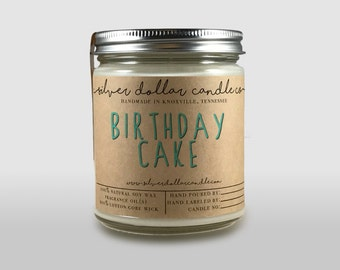 Birthday Cake 8oz Scented Candle, Hand poured, Cake candle, Birthday gift, Soy Wax Candle, Natural Candle, soy scented candle, Vanilla cream