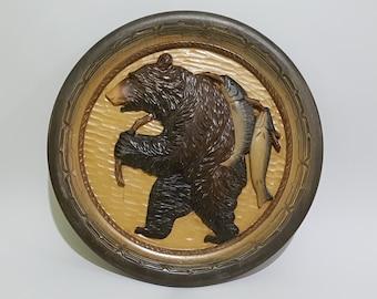 Round Wooden Display Hanging Frame with Ainu Bear Carving, CecysAsianShop