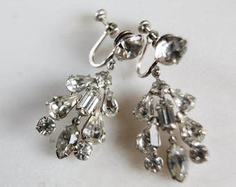 Vintage Screw Back Rhinestone Chandelier Earrings