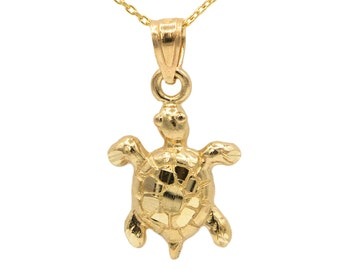 14k Yellow Gold Turtle Necklace