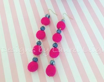 Pom Pom Earrings | Mini, HOT PINK, chinoiserie, pink, blue and white, porcelain, Chinese, delft, gold, beaded, dangle, pompom, bonbon
