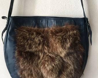 Blue crossbody women's bag, from real leather and fur, bag decorated with fur bubo, stylish bag, designer bag, new, size-medium.