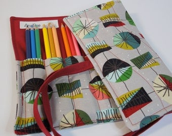 Pencil Roll - Mid Mod Red, pencils Colored pencil roll, Pencil case, Pencil organizer, 24 colored pencils