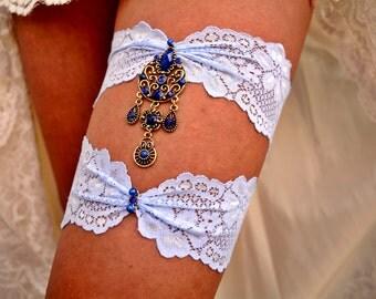 Blue Wedding Garter, Bridal Accessories, Light Blue Garter, Lace Garter Set, Antique Gold Garter, Blue Garter, Blue Garters, Something Blue