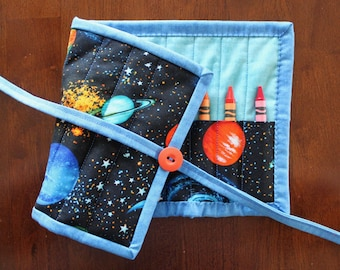 Space Crayon Holder, Solar System Crayon Roll Up, Planets Crayon Roll, Blue Crayon Holder, Outer Space Crayon Roll, Jupiter Crayon Tote
