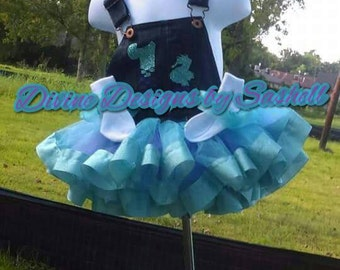Overall Tutu Set, Birthday Set, Denim Set, RIbbon Trim, Custom Socks