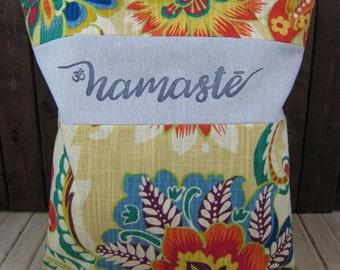 tote bag, reusable bag, cabas bag, holdall bag, hand bag, travel bag, beach bag, shopper bag, namaste, organizer, storage, boho chic, yoga