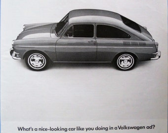 1966 VW Fastback ad.  1966 Volkswagen Fastback.  Vintage VW Fastback ad.  First edition. Black and white.  Life Magazine.  March 11, 1966.