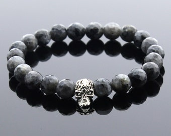 Mens Skull Bracelet, Labradorite Bracelet, Men Jewellery, Gemstone Jewelry, Gemstone Bracelet, Men Gift, Boyfriend Gift, Valentines Day Gift