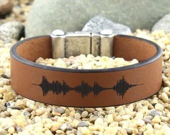 Personalized Sound Waves Bracelet, Customized Bracelet, Voice Recording, Keepsake Bracelet, Mementos Gifts, Anniversary Gifts, Mens Gifts