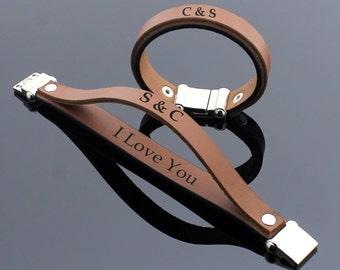Personalized Couples Bracelet, His and Hers Bracelet, Hidden Message Bracelet, Anniversary Bracelet, Custom Secret Message, Leather Bracelet