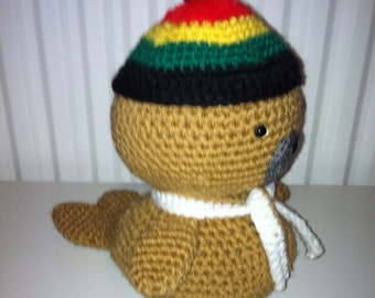 Baby Seal, Amigurumi Seal, Crochet, Handmade Soft Toy, Stuffed, Hat and Scarf, Tan, Childrens Toy, Present, Gift