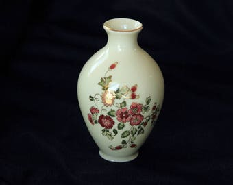 ZSOLNAY VASE - Hand Painted in Reds, Greens and Gold from Hungary