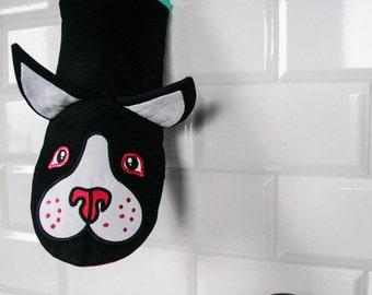 Boston terrier kitchen mitten for fun! Perfect housewarming gift, best quality.