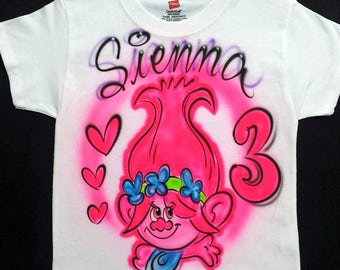 Airbrushed Trolls Princess Poppy Inspired T-Shirt Or Hoody Sweatshirt
