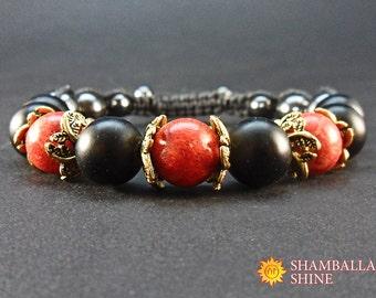 Black red bracelet Natural coral jewelry Gift bracelet for her Red black gem beads Healing gemstone bracelet Women meditation jewelry Amulet