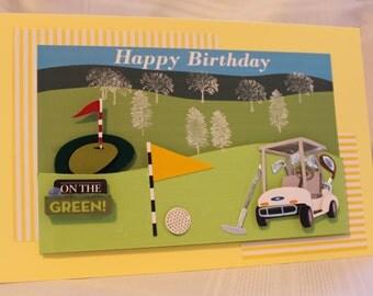 Golf, 3-D Happy Birthday, On the Green, Golf Cart, Golf Ball, Golf Flags