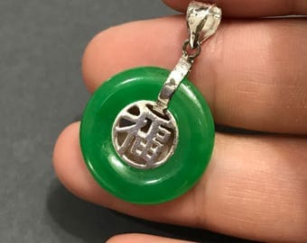"Vintage Sterling silver handmade pendant, solid 925 silver japanese character ""happiness"" with round jade around, stamped 925"