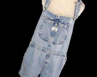 Vintage 90s Mr Lee Blue Jean Denim Shortalls XL Shorts Overalls Distressed Light Bib Adjustable Straps Womens H2