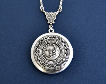 Sun Moon Locket, Sun Moon Necklace, Photo Locket Necklace, Silver Locket, Antique Style Locket Necklace, L