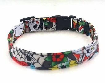 Skull Dog Collar, Dog Collar, Black Dog Collar, Personalized Collar, Handmade Dog Collar, Fabric Dog Collar, Bow Tie Collar, Dog Bow Tie
