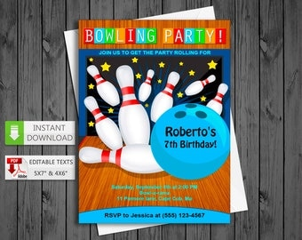 Printable invitation Bowling in PDF with Editable Texts, Bowling Invitation, edit and print yourself! - Instant Download!