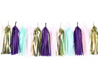 Purple + Pink + Ivory + Mint + Metallic Gold  | Tassel Garland | Metallic Tissue Tassel Garland | FOLI + LO