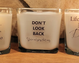 Inspirational Candles, Coconut Wax, Ribbon Wick, Cube Jar, Gift box