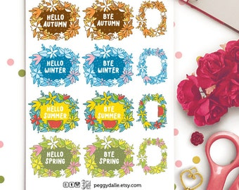Seasons Greetings Planner Stickers |  Seasons | Spring | Summer | Autumn | Winter | Floral Wreath