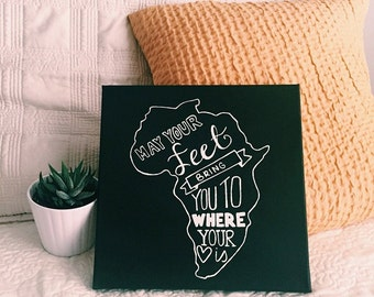Chalkboard Inspired Africa Canvas