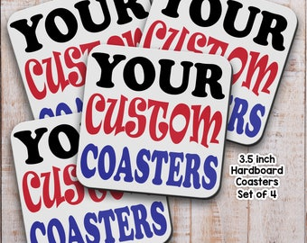 Coasters, Set of 4,  Add Your Photo Image Text,  Drink Coaster, Custom Coaster, Housewarming, Gifts