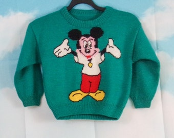 Sweater K4U green-creations hand-knit Pattern Mickey