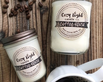 Coffee House Soy Candle | Hand Poured | Coffee Candle | Coffee Lovers Gift | Mason Jar Candle
