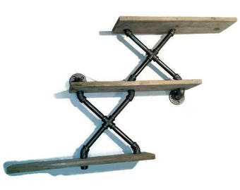Industrial Pipe Shelving- 3 level Steampunk shelf- 2 in 1 design!