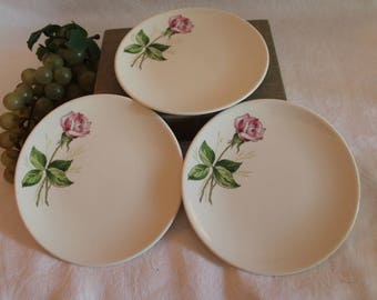 "Vintage Set of 3 Knowles China 6.25"" Bread Plates - Pink Tea Rose Pattern in Excellent Condition!"