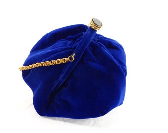 DORSET REX Fifth Avenue Vintage 1950s Blue Velvet Evening Pouch Purse