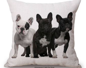 """French Bulldog Cushion Cover with Cushion Insert Included- 18"""" by 18"""" - Orange Cushion"""