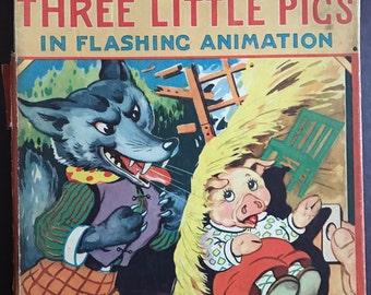 Three Little Pigs in Flashing Animation Hank Hart vintage children's book 1944