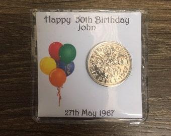 Personalised  50th birthday 1967 sixpence keepsake lucky charm - balloon