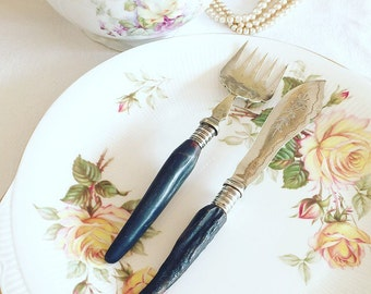 Vintage Cutlery~ Silver Plated mismatched Fish  Knife & Fork with Antler Handles.