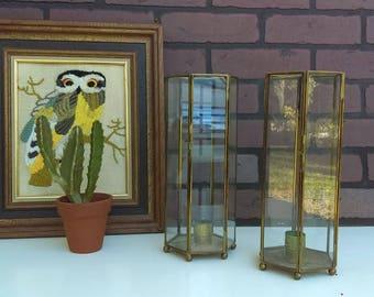 Glass and Brass Candle Holder, FREE SHIPPING, Nostalgic Finds, Glass Terrarium, Vintage Lantern, Boho Wedding Decor, Table Decor, Brass