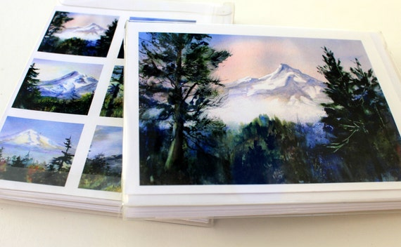 Mt. Hood cards - note cards - blank cards - Mt. Hood - Columbia Gorge - Bonnie White - mountain art - pacific northwest cards