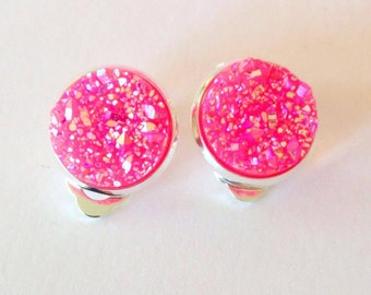 Beautiful Hot Pink Sparkling Druzy Clip On Earrings - 12mm Resin Druzys - Clipons - Princess Jewellery - FREE SHIPPING AUS