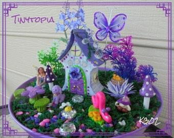 Miniature Purple Crystal Fairy House Set Fairy Garden Kit Includes Plants