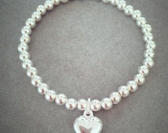 Sterling Silver Large Bead Heart Charm Bracelet