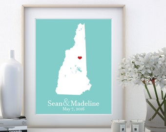 New Hampshire Wedding New Hampshire Home New Hampshire Poster New Hampshire State New Hampshire Sign New Hampshire Wall Art Wall Decor Print