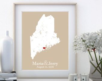 Maine Art State Maine State Maine Sign Maine Wall Art Wedding Gifts For Him 46 Year Anniversary Gift Anniversary Decor 2nd Wedding Custom