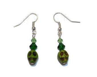 Skull earrings, green skulls, day of the dead, Swarovski crystal, crystal earrings, crystal skulls, green earrings, green crystals,